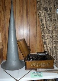 Home phonograph (with cylinders) by Edison serial #H60864. Patented 1888-1989. West Orange, NJ.