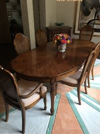 Thomasville Dining Room Table & Chairs. AVAILABLE FOR -PRESALE $800. Text or call Patty at  847-772-0404 for more information.