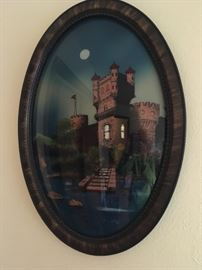 Reverse painting in convex frame