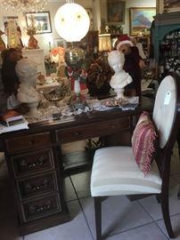 Vintage Painted Desk -Upholstered Side Chair