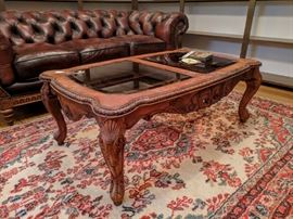 Ornate wood coffee table