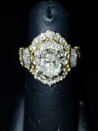 3 Carat Diamond Ring in 18k Gold ( 1.5 carat center stone)