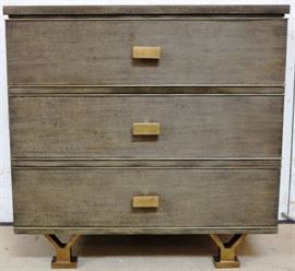 Modern History 3 drawer chest on brass leg