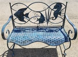 Sea life iron bench