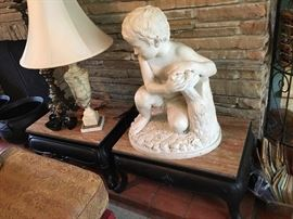 Marble sculpture, Boy with Bird's Nest, signed.