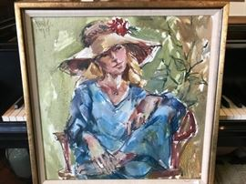 Painting of woman in hat, artist Betty Calvert . 1979