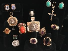New jewelry in - amethyst, diamonds, coral, coin pendants. Turquoise and white gold earrings. Diamond and gold cross .