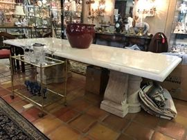 Kriess travertine Roman style banquet table  for your loggia. 50% off!!!!!