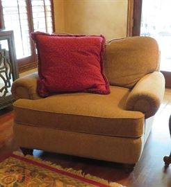 One of two super comfy oversized armchairs