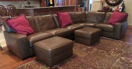 Custom leather sectional with ottomans