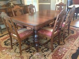 Antique Dining Room Table, Table pad and Set of 6 chairs.