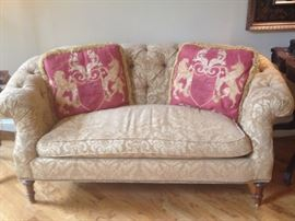 Gold Damask Upholstered Love-seat with Tufted back. Down-filled cushion and matching pillows