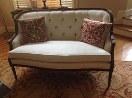 Off-White love-seat with Tufted back and Solid wood frame