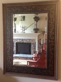 "Hand-painted Framed Mirror with beveled glass (37.5""W x 50""H)"