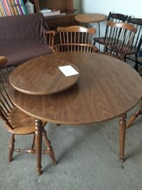 Vintage Mid Century Ethan Allen Round Table and Chairs X 6 Rare Barrel  Back chairs Tub chairs, excellent condition with Lazy Susan