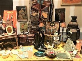 prints, tin ware lighting, vintage southwest leather work, retablos  , pin up girl advertising