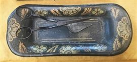 19th c tole candle snuffer and tray