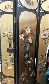 Chinese  lacquer five panel screen Hollywood regency  1940's