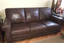 Walter E. Smithe Leather couch w/matching loveseat and recliner