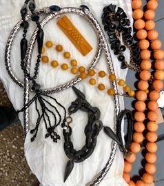 Antique Jet Jewelry, Bakelite, Whiting and Davis Belt, Turn of the century bracelet