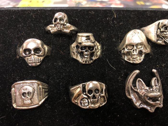 1980s skull/ biker rings never worn