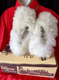 Vintage Fuzzy slippers in original box and red vintage jacket