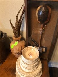Pheasant Feathers, Antique Dishes, Native Indiana Turtle Rattle in Case