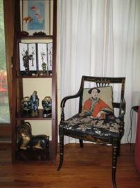 Ferrari chair, vintage needlepoint, original woodblock of goldfish, one of many tabletop screens, se asian gilt teak ram