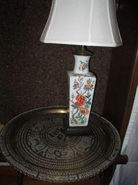 brass tray, porcelain lamp