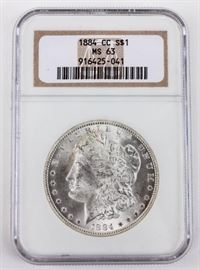Lot 84 - Coin 1884-CC Morgan Silver Dollar NGC MS63