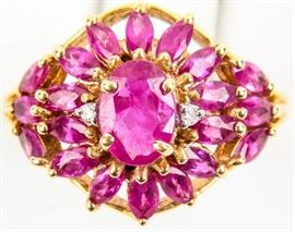 Lot 5 - Jewelry 14kt Yellow Gold Ruby Floral Cocktail Ring