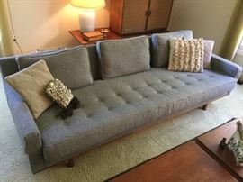 "Grey wool mid century sofa 8'long  36"" high  26"" deep mfg.  by Metropolitan Furniture of San Francisco - Fabulous"