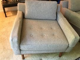 (2) Available.  Mid Century arm chairs with button seat, grey/off white tweed by Armstrong Furniture of Martinsburg W. VA