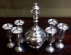 Sterling Wine Decanter And Six Kiddush Cups