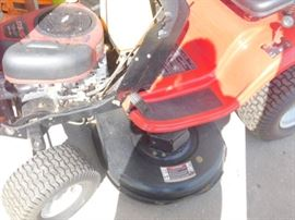 "TROY-BILT 42"" twin Blade Side discharge deck 7-speed shift on the go transmission"