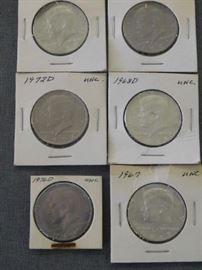 1972, 1968, 1967, 1976 JFK Half Dollars