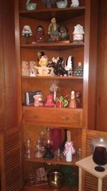Corner cupboard and contents