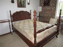 Mahogany full size bed with newer clean mattress, box-spings