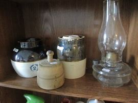 Assorted Crocks - lamp, butter mold