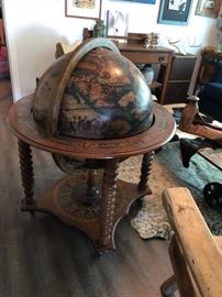 Old world style globe and dry bar.  (Please read the terms and conditions regarding our sales) Set up and Photo by BC