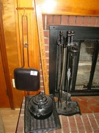 CAST IRON KETTLE AND FIRE PLACE TOOLS LOT