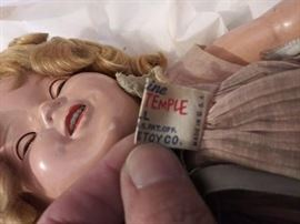 Shirley Temple doll with original tag and rivets