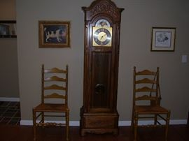 Ladder back chairs. Clock not available... complain to the family.
