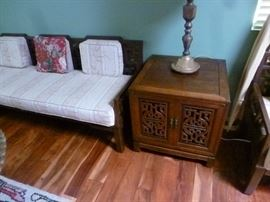 Chinese carved 2 door cabinet and Asian style sofa