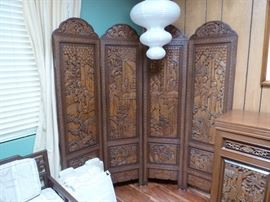 Carved 4 panel Chinese screen