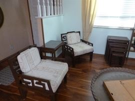2 more matching Asian chairs, set of 4 nesting tables