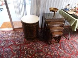 Asian drum and another set of nesting tables