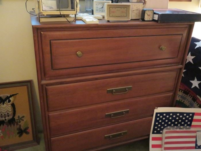 Mid century modern highboy dresser by Heywood Wakefield, additional pieces include dresser and mirror and bedframe