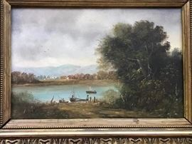 Framed Oil on Board by Daubigny 1876