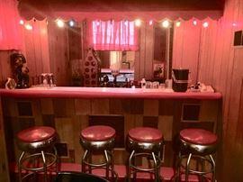 Set of 4 red matching bar stools